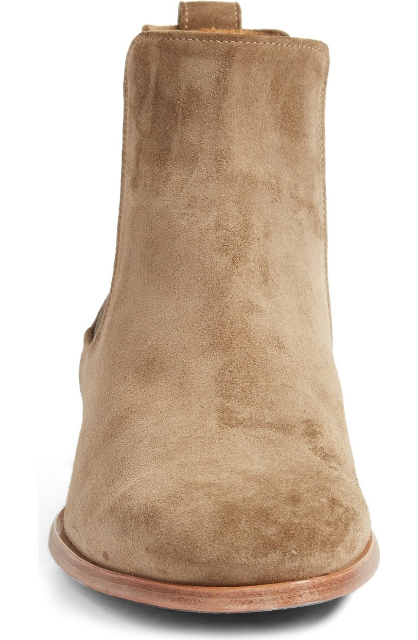 handmade camel color genuine suede ankle boots
