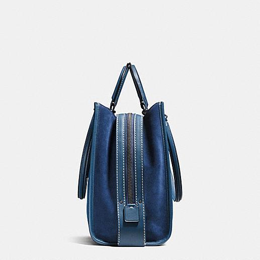 Handbag Lining Material : Coach rogue black copper denim suede fabric lining