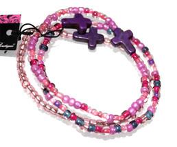 Ladies Womens Christian Mix Purple Pink Seed Bead Cross Beaded Bracelet ... - $6.73