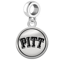Pittsburgh Panthers Silver Round Border Dangle Charm - $49.00
