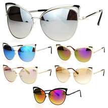 SA106 Womens Color Mirror Lens Metal Cat Eye Diva Retro Sunglasses - $12.95