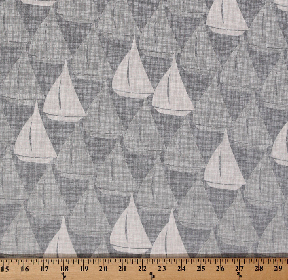 Splash Sailboats Sailing Nautical Light Gray Cotton Fabric Print by Yard D765.02