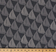 Splash Sailboats Sailing Nautical Dark Gray Cotton Fabric Print by Yard ... - $10.95