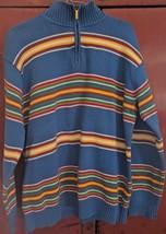 Lauren Ralph Women Horizontal Striped Blue Yellow Zip Large Cotton Sweater - $26.72
