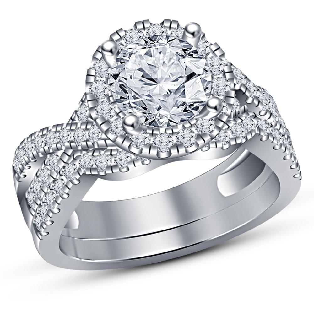 Womens Wedding Bridal 1-50ct Round Cut Dainty Pave Diamond Engagement Bridal Set