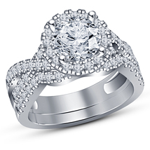 Womens Wedding Bridal 1-50ct Round Cut Dainty Pave Diamond Engagement Br... - $97.85