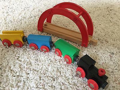 BRIO Thomas Train Wooden Compatible Black Engine Set Bridge  Lot Used