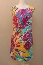 SPENSE WATERCOLOR SHEATH DRESS, PLEATED NECKLINE, SIZE 8 Tropical Multi - $24.72