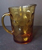 Vintage Amber Bubble Glass Pitcher Retro 70's Gold - $17.52