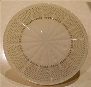 "Vintage 1950's Anchor Hocking Fleur De Lis Milk Glass Pedestal 10"" Cake Plate"