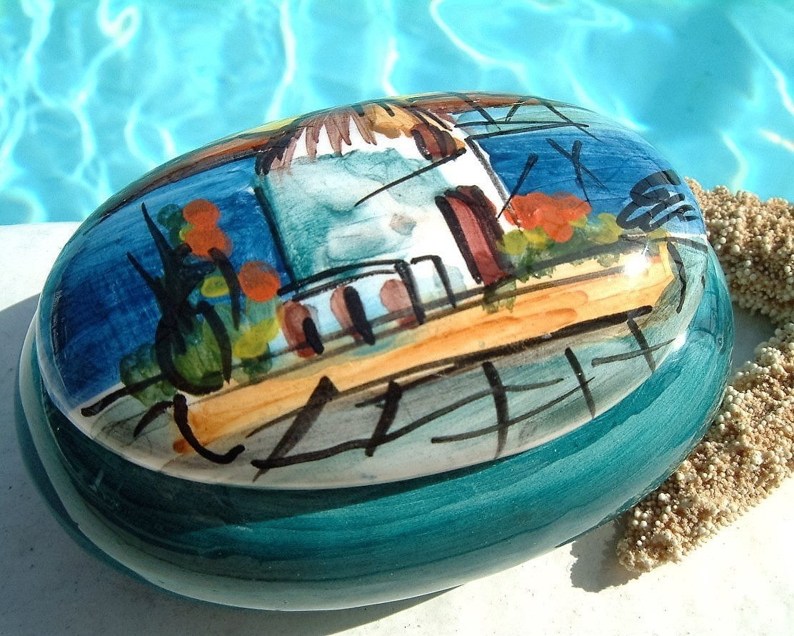 Trinket box hellenic greece ceramic hand painted blue signed pottery
