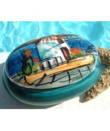 Trinket Box Hellenic Greece Ceramic Hand Painted Blue Signed Pottery - $17.95