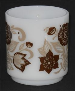 Vintage GLASBAKE ~ Brown & Beige Floral Flower ~ Milk Glass Coffee Cup Mug