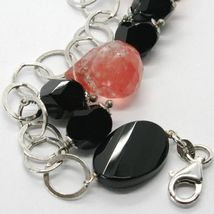 925 STERLING SILVER BRACELET WITH BLACK ONYX NUGGETS AND FACETED RED QUARTZ DROP image 3