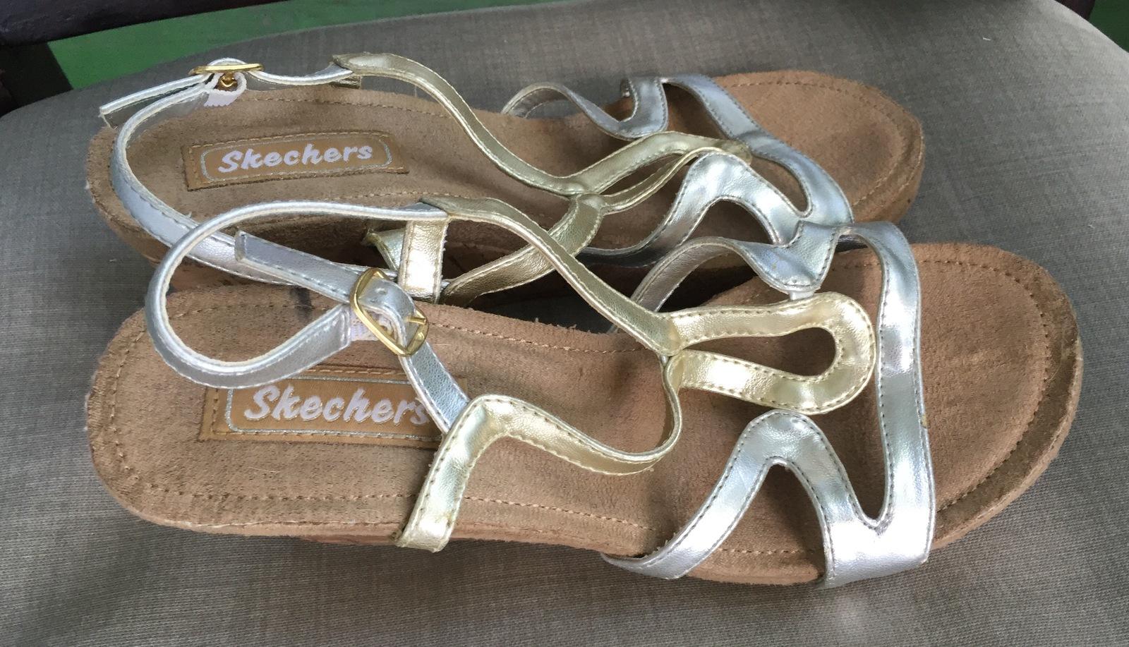REDUCED! SKECHERS Women's metallic wedge sandals 5.5-6 US
