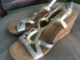 REDUCED! SKECHERS Women's metallic wedge sandals 5.5-6 US - $14.00