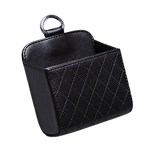 Classic Black PU Leather Square Car Cup Holder,Auto Storage Bucket,3.53.3''