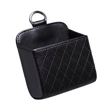 PANDA SUPERSTORE Classic Black PU Leather Square Car Cup Holder,Auto Storage Buc