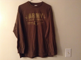 "Army Basic Training Combat Ready ""T-Shirt"" Tee Drab Brown w/ Tan Graphic Print"