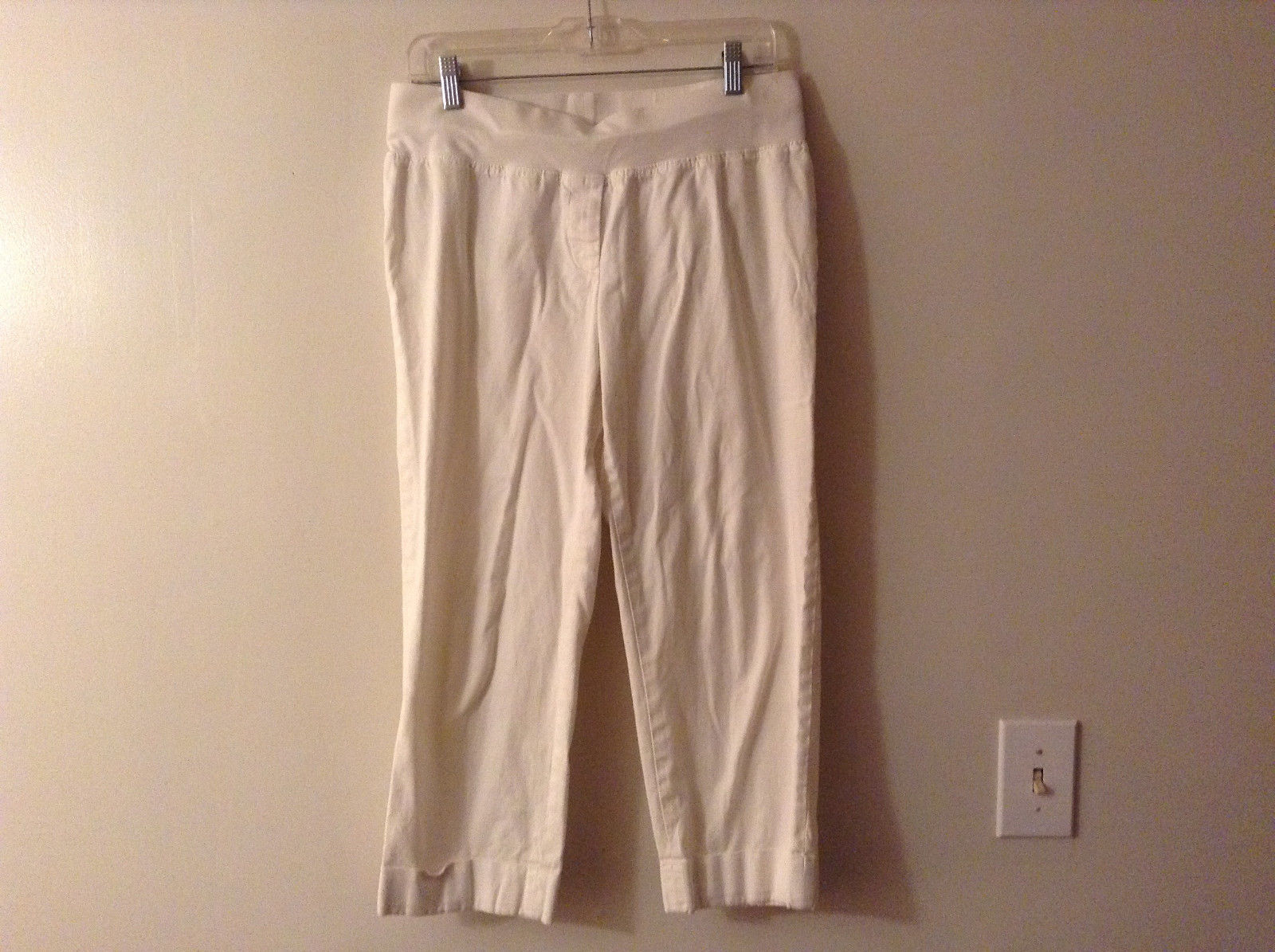 Ann Taylor LOFT Maternity Women's Size 6 6M Pants Cropped White Stretchy Waist