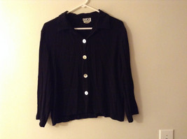 Clio Women's Size L Button Down Shirt Boxy Top Black Crepe Pearl Effect Buttons