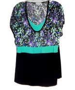 Sz 2X - Bleeker & McDougal Black Solid & Floral Cap Sleeve Stretch Top - $29.99