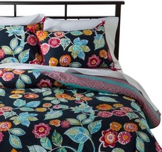 Boho Boutique Bali Twin 2 Piece Comforter Set Floral Gray Multi New Reve... - £38.92 GBP