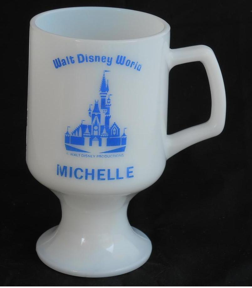 Walt Disney World ~ Personalized Name Michelle ~ Milk Glass Coffee Cup Mug