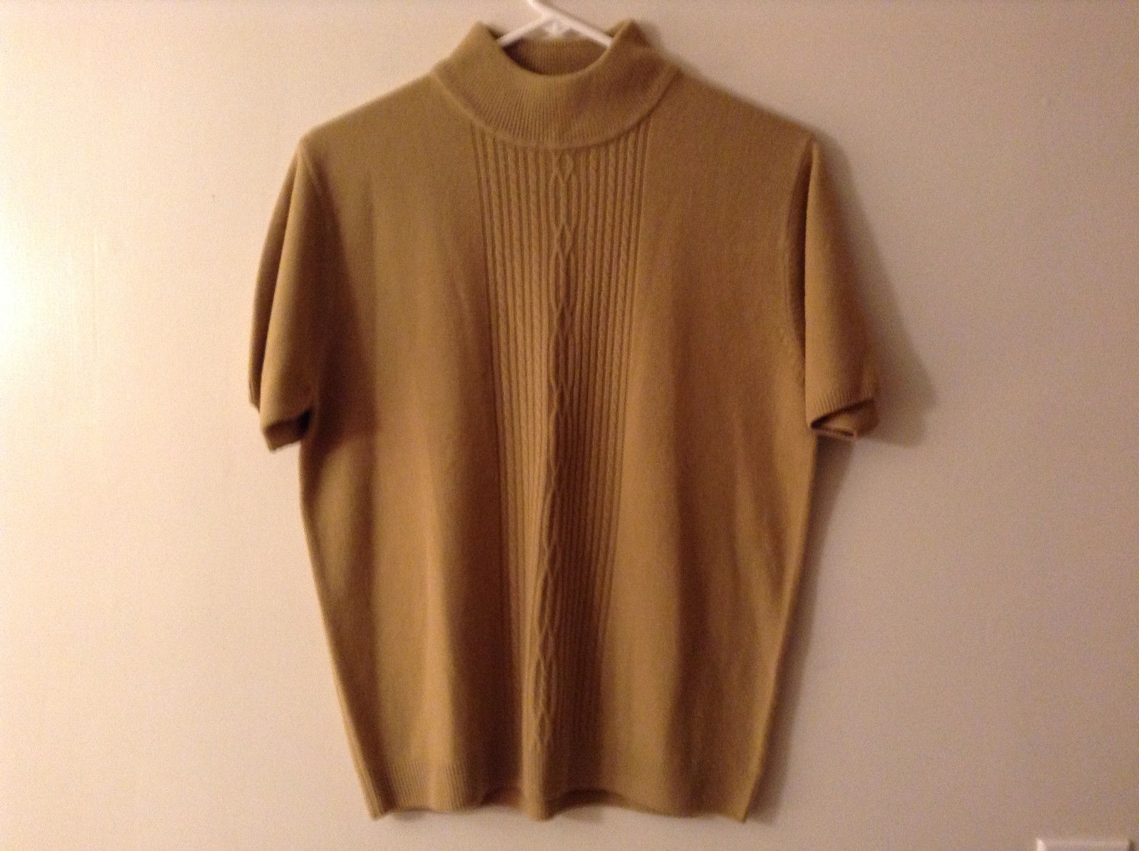 """Ship n' Shore"" Women's Size M Mock Neck Sweater Camel Brown Light Cable Knit"