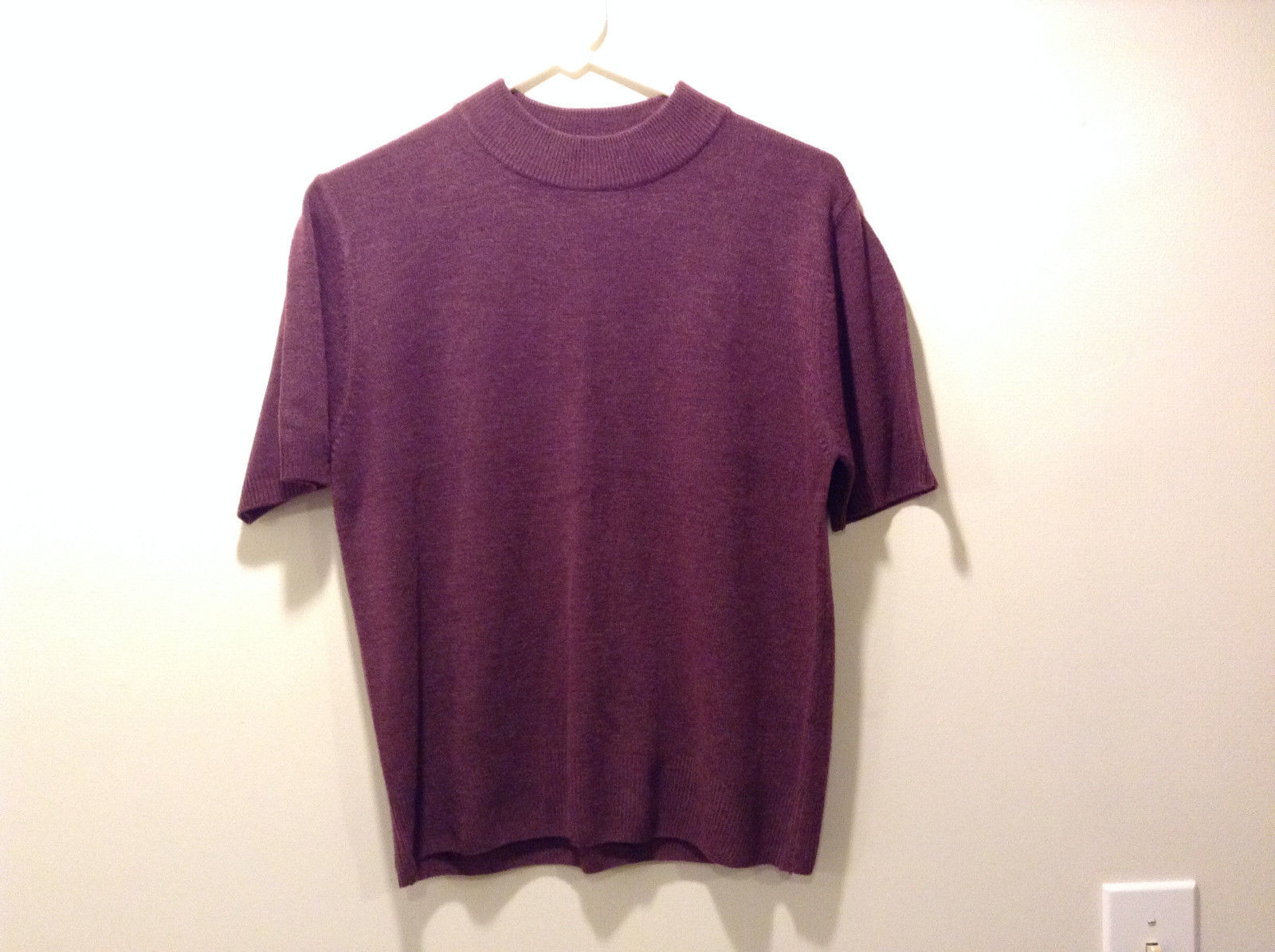 Sag Harbor Women's Size M Mock Neck Sweater w/ Short Sleeves Wine Violet Purple
