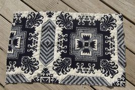 Indigo Blue Cream Antique Woven Coverlet Quilt Bedspread Cutter Piece 16... - $16.95