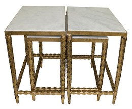Beautiful Set of 3 Marble Top ntique Gold Iron Nesting Coffee/Side Tables - £970.81 GBP