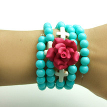 Colorful Rose Wrap Around Memory Turquoise Cross Bracelet - $15.00