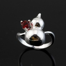 .925 SILVER PLATED GOURD RED CRYSTAL RING  - $2.55