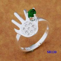 .925 SILVER PLATED HAND SHAPED GREEN CZ GEM RING  - $2.05