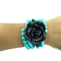 Turquoise, Black Flower and Skulls Bracelet - $15.00