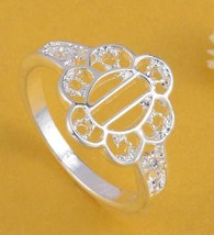 BEAUTIFUL .925 SILVER PLATED FLOWER SHAPED  RING  - $2.05