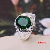 SILVER PLATED HOLLOW  BIG GREEN CZ RING  - $2.55