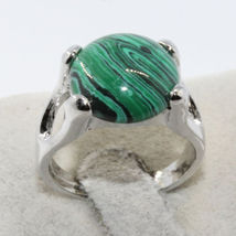 MALACHITE GEMSTONE SILVER PLATED RING  - $2.55