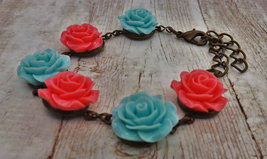 Mint Blue and Pink Antique Brass Bracelet - $16.95