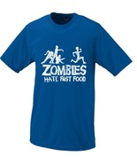 Zombies Hate Fast Food T-shirt Large Blue - $16.95