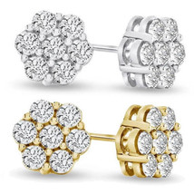 1.40 Carat Moissanite Flower Cluster Earrings in 14K Solid Yellow Or White Gold - $494.50