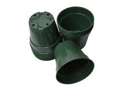 4.5 inch HEAVY-DUTY GREEN Round Nursery Pots - Set of 10 - azalea plasti... - £6.37 GBP