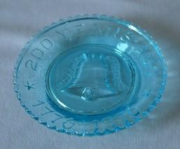 Mosser Glass Aqua Blue 200 Year Ago 1776-1976 Liberty Bell Coaster - $4.95