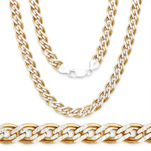 2-Tone 925 Silver 14K YG Plated Double Curb Cuban Link Italian Chain 5MM Thick - $77.50+