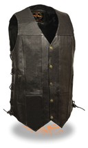 MEN'S MOTORCYCLE 10 POCKETS TALL LENGTH BIKERS LEATHER VEST SIDE LACE SO... - $88.53+
