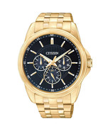 BRAND NEW** CITIZEN WATCH QUARTZ GOLD TONE SS NAVY BLUE DIAL AG8342-52L NIB - £89.07 GBP