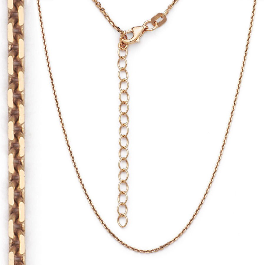 Men/Women's 925 Silver 14k Rose Gold Covered Thin Cable Link Italian Chain 1.3mm