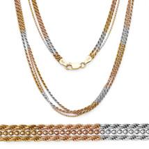 Men/Women's 925 Silver 14k Yellow Rose Gold Twist Rope Bead Link Multi Chain - $81.76