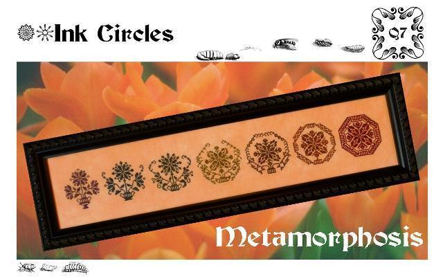 Metamorphosis quaker motifs cross stitch chart Ink Circles - $7.20